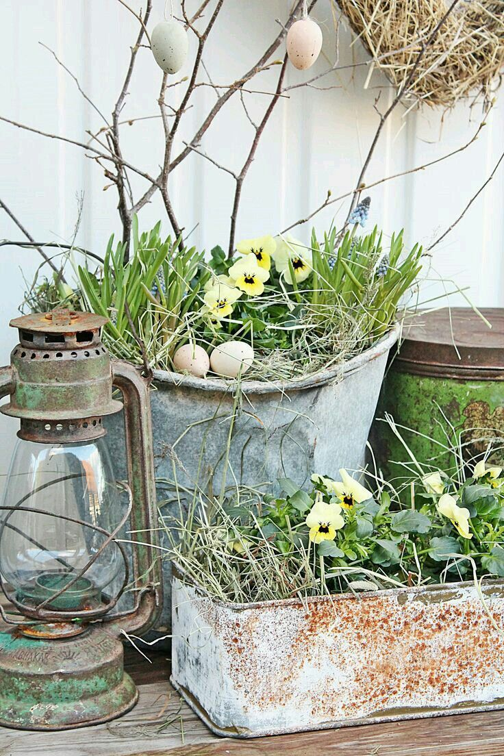 Spring vignette with pansies and eggs