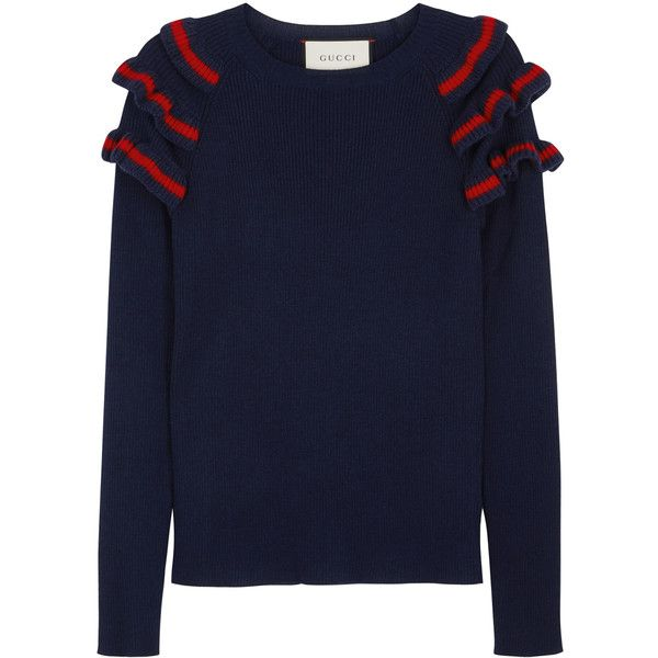 Gucci Navy ruffled silk blend jumper (64.545 RUB) ❤ liked on Polyvore featuring tops, sweaters, raglan sweater, navy blue top, blue top, gucci and blue sweater