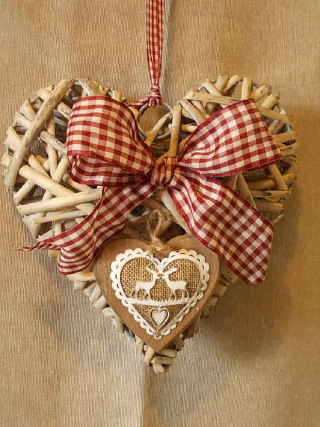 Country Decoration - Heart and Bow - decorazione natalizia cuore