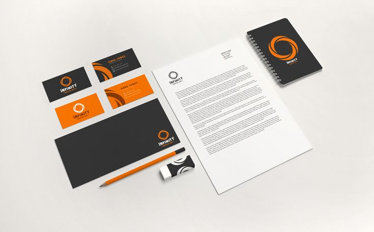 Business cards, envelope, broshure, eraser and notebook design. Infinity Martial Arts Logo & Identity Design on Behance by graphic designer & illustrator Catherine Uvarova. #branding #tshirt #inspiration #corporate #visual #identity #logo #martial #art #design #black #orange #tangerine #mobius