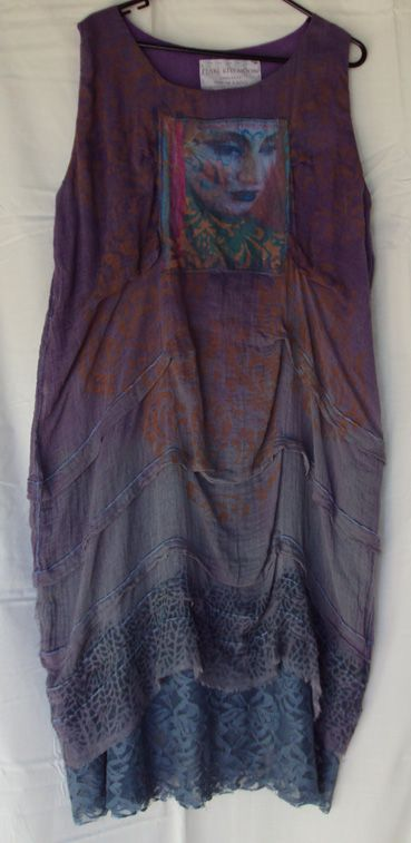 100% cotton cheesecloth shift. hand dyed in graded shades of violet to grey. Stenciled in muted orange. Wide tucking details, lace hem. Focal face print is art by Pearl Red Moon, 2013