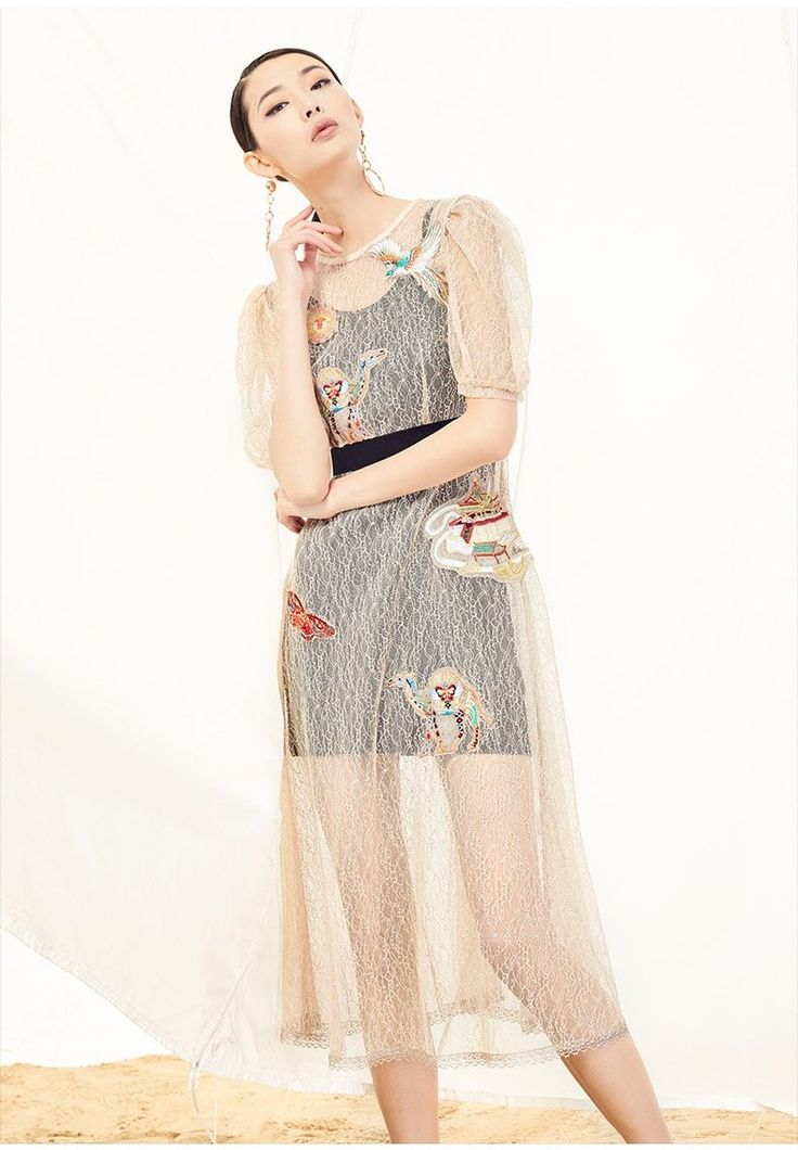 YSMX Embroidered Lace Dress