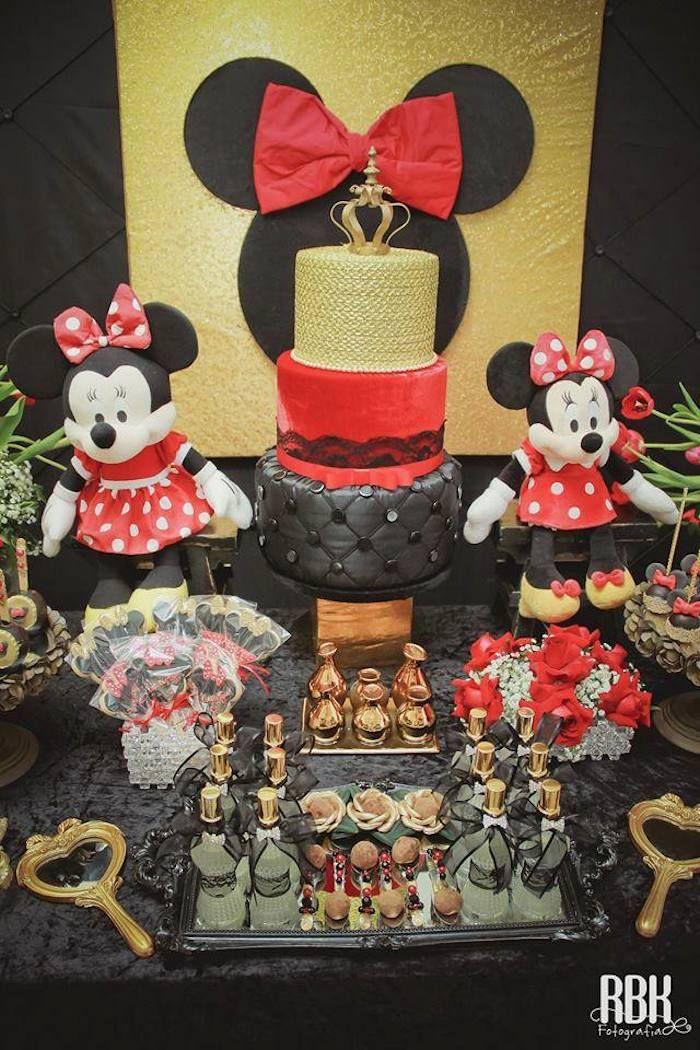 Elegant Minnie Mouse Birthday Party Festa Tem 225 Tica