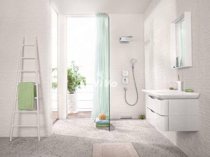 Hansgrohe ShowerSelect Glass ventil pod omietku pre 3 spotrebiče, hlavová sprcha Rainmaker Select, umývadlová batéria PuraVida - všetko v bielej farbe