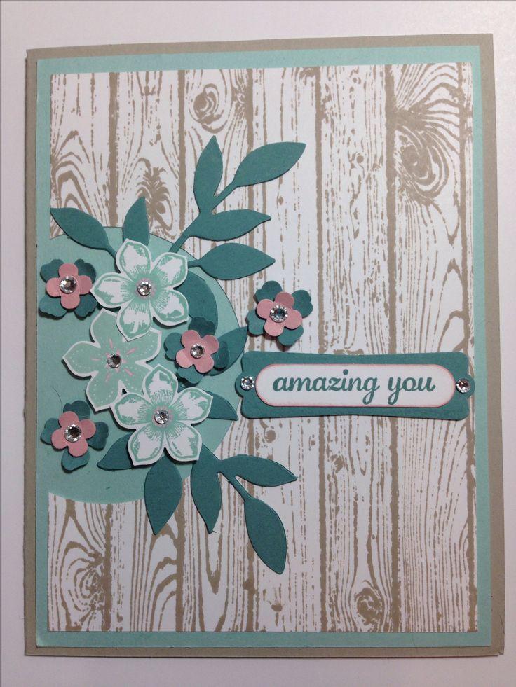Stampin up! Petite Petals with Hardwood Background stamp.