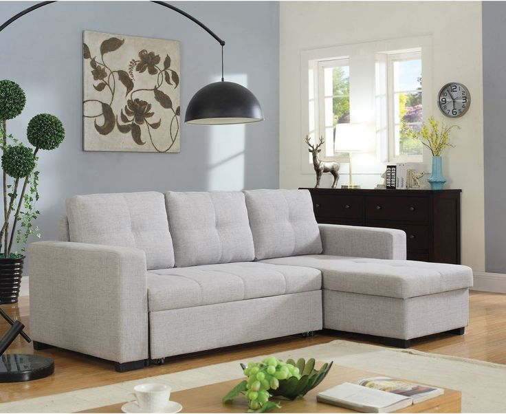 Coaster Everly Sectional Sofa with Sleeper in Beige