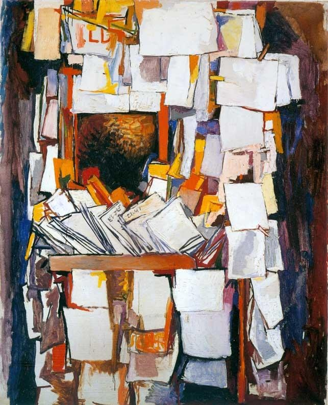 Renato Guttuso - i like the clutter, this in a minimalist hyper clean room would be phenomenal
