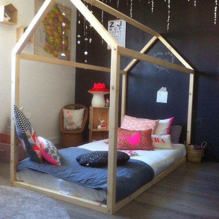les 15 meilleures images du tableau diy lit maison en bois sur pinterest chambre enfant. Black Bedroom Furniture Sets. Home Design Ideas