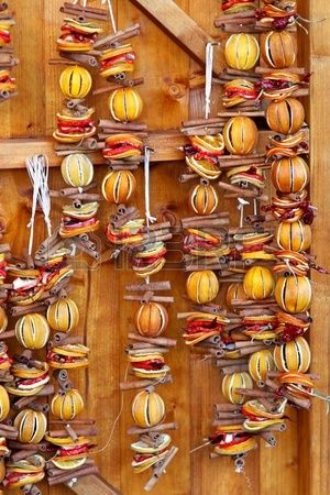 Wall Christmas decoration made of dried oranges