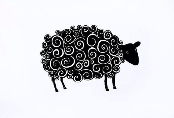 The Black Sheep giclée print pen and ink drawing by JudithLoganART