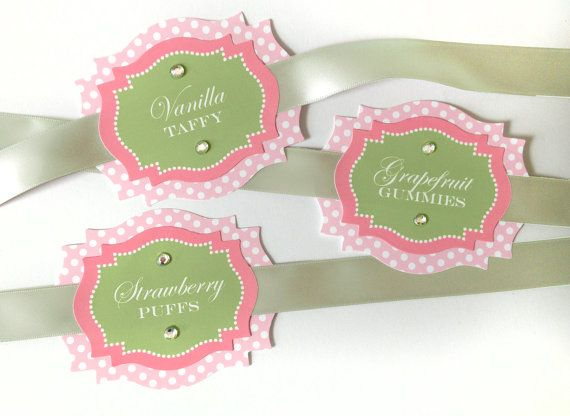 Large Elegant Coral and sage Jar Labels for your Candy Buffet