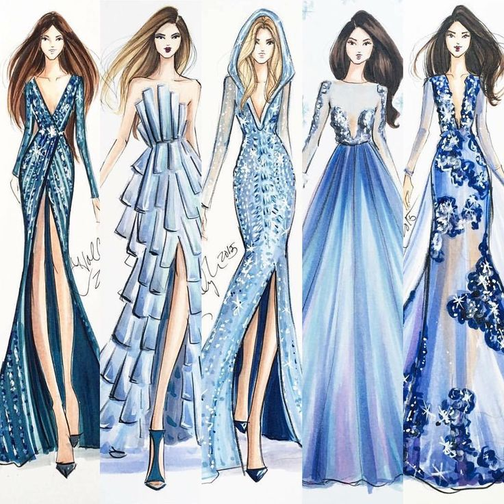ilustration ms blue fashiondress design - Dress Design Ideas