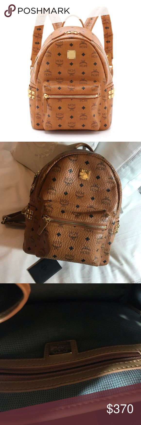 """MCM Small Stark Backpack Used condition. Almost perfect other than the straps being a little worn and three small cracks in the leather on the right inner strap (unnoticeable). Comes with authenticity cards and tag. 10"""" W x 13"""" H x 4"""" D. (Interior capacity:medium) price is firm. MCM Bags Backpacks"""