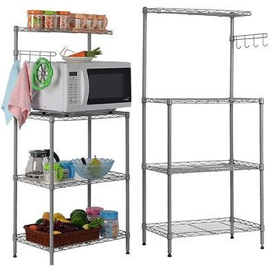 3 Tier Microwave Stand Oven Baker Rack Shelves Kitchen Storage Cart Multi Use
