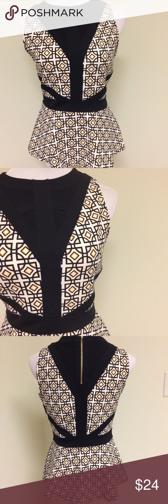 NWT Geometric Patterned Peplum Top Sleeveless Peplum Top with black, white, and yellow geometric pattern. Black lattice type design on the bodice with sheer Overlay. Similar design in the back. Back zipper is gold toned. Worthington Tops