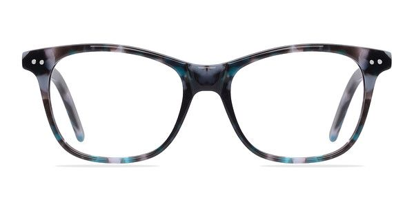 These gray and blue eyeglasses are colorfully simple. This wayfarer shaped frame comes in a two toned marbled finish throughout with silver stud accents in the corners. The temples are sleek and also minimally embellished with double stud accents. Clean lines and humble styling make this look perfect for both men and women.  @EyeBuyDirect
