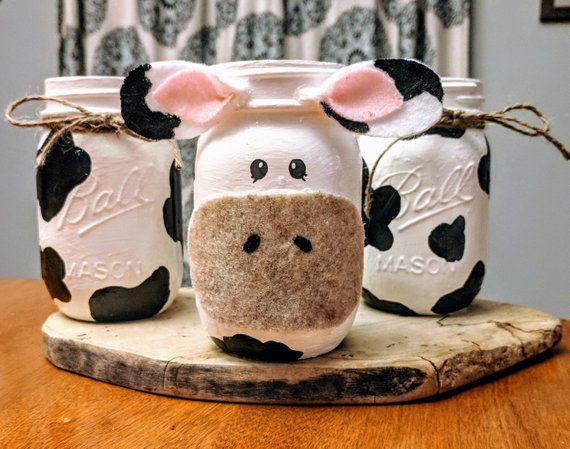 Cow Mason Jars, Farm themed party decor, cow print centerpieces, mason jar cow vase, farm nursery decor, hand-painted