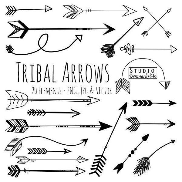 Tribal Arrow Clipart and Vectors - Hand Drawn Arrow Clip Art - Aztec... (4.96 CAD) ❤ liked on Polyvore
