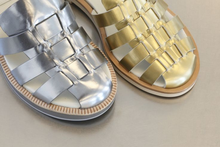 Jil Sander Navy pre spring 2015. Who said metallic is not  going to be a hit on this season?  #JilSanderNavy #sandals #gold #silver #precollection #springsummer #2015