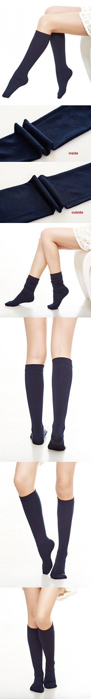 sh Fleece Lined Trouser Socks Knee High Stocking(navy)