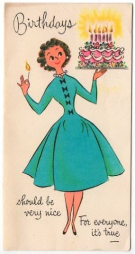 Vintage Greeting Card Girl Lady 1950s Dress Birthday Cake (O317)
