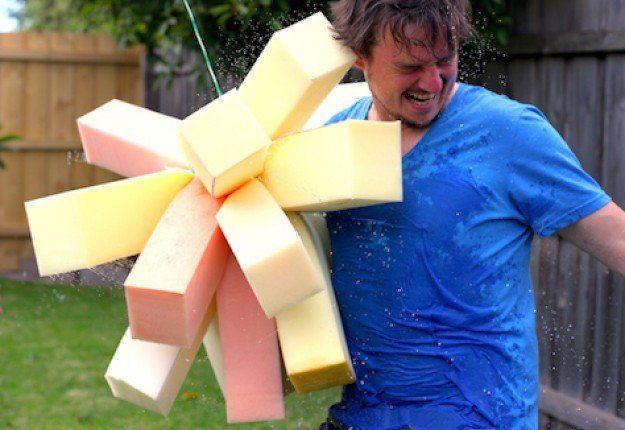 Sponge Bomb Wrecking Ball - splashing summer fun, and a great DIY Dad project!
