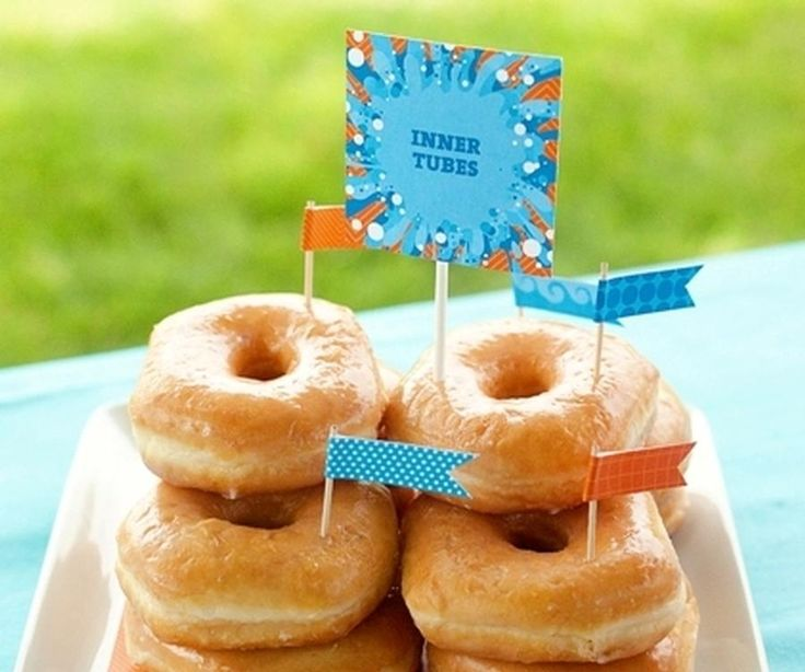 Easy Pool Party Food Ideas best 25 beach theme snacks ideas on pinterest beach themed snacks beach themed food and beach theme food Use Donuts As Inner Tubes At Your Next Summer Pool Party A Cute And Easy