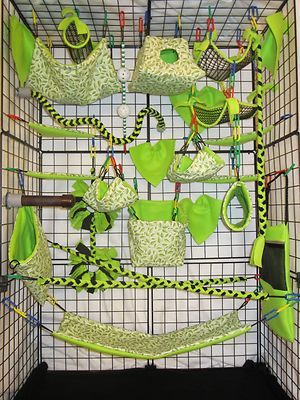 ooo!!! Love that green!!!  28pc Exclusive Bedding - Sugar Glider Cage Set - Rat toys - Jungle theme