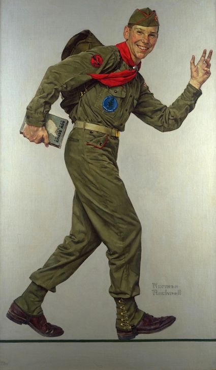 Norman Rockwell. I remember looking at this in my Scout Handbook and wanting to paint like that