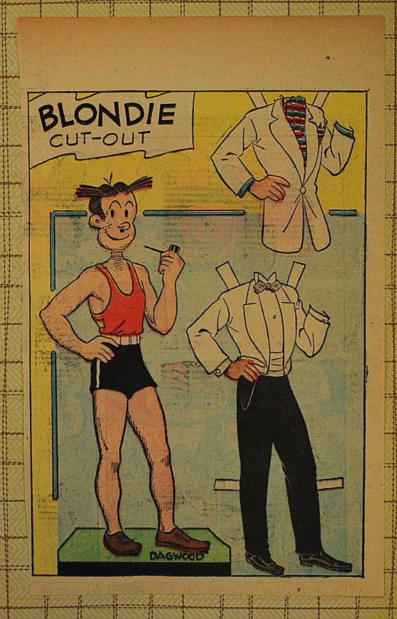 Dagwood from Blondie's cartoons. Vintage Newspaper Paper Doll, 1930-50, Vintage Paper Ephemera ...