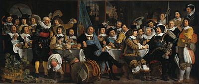 Banquet of the Amsterdam Civic Guard in Celebration of the Peace of Münster, painted 1648, exhibited at the Rijksmuseum.