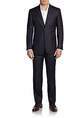 $1,250, Valentino Slim Fit Tonal Stripe Wool Silk Suit. Sold by Off 5th. Click for more info: https://lookastic.com/men/shop_items/60180/redirect