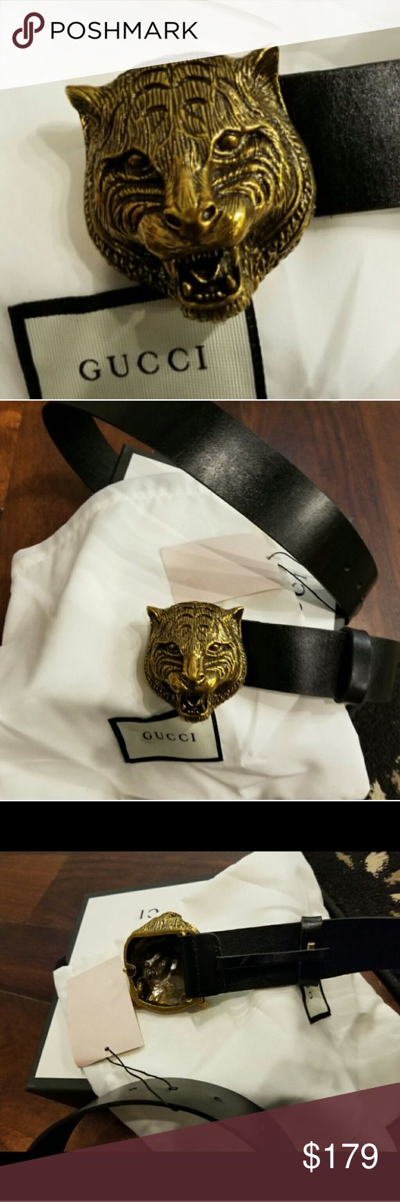 ❤Authentic Gucci Belt Black Leather Tiger Head ❤Brand New Gucci Belt Black Leather with Brass Tiger Head Buckle. Nice! Comes with tags, box and dust bag. Easy sizing done for you below. Fast 24hr Shipping! Gucci Accessories Belts