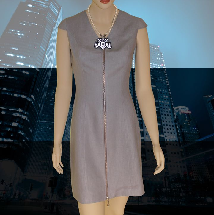 • Go from demurely attired for the office to super sexy for play - quick as a zip! • A flirty slit is created by opening the zipper from the bottom of the dress - and the rest is history... • 100% Linen - anti-allergic, permeable to air - keeps you dry and comfortable all day long. • Fully lined with Bemberg Rayon -anti-cling, resists wrinkles, breathes well and has a soft silky feel. • Reflective necklace is hand crafted and unique to the dress.