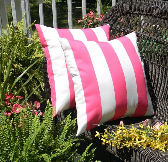 Set Of 2 Pillow Covers   X Indoor / Outdoor Decorative Pillow Covers    Preppy Hot Pink U0026 White Stripe
