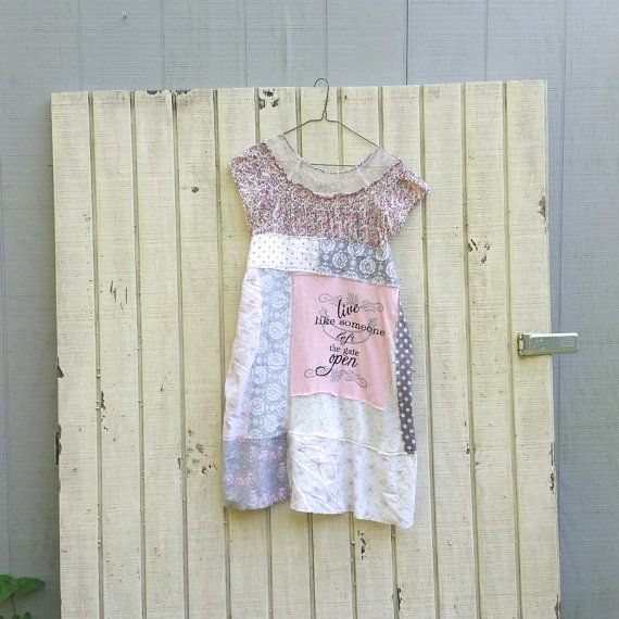 Horse Dog funky tattered Gypsy knit and cotton tunic by CreoleSha
