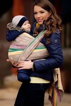 Baby Wrap, Jacquard Weave (100% cotton) - Caffe Latte Lace - size L - LennyLamb.com