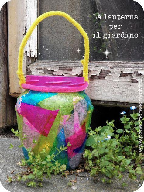 Un'idea per arricchire il giardino/balcone nelle nostre serate estive. Come fare una lanterna  tutta colorata! Tecnica decoupage, da PaneAmoreECreatività