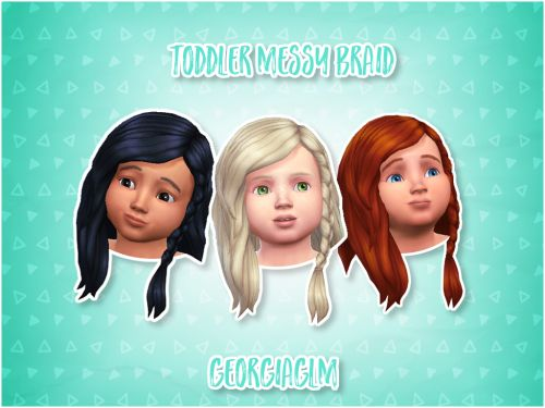 "georgiaglm: "" ⏩ Toddler Messy Braid ⏪ ⏩ This is my 2nd conversion for toddlers and it's the messy braid from the kids stuff pack but (99% sure) it should work with just the basegame. ⏩ There are 9 colours included and all textures and mesh are by..."