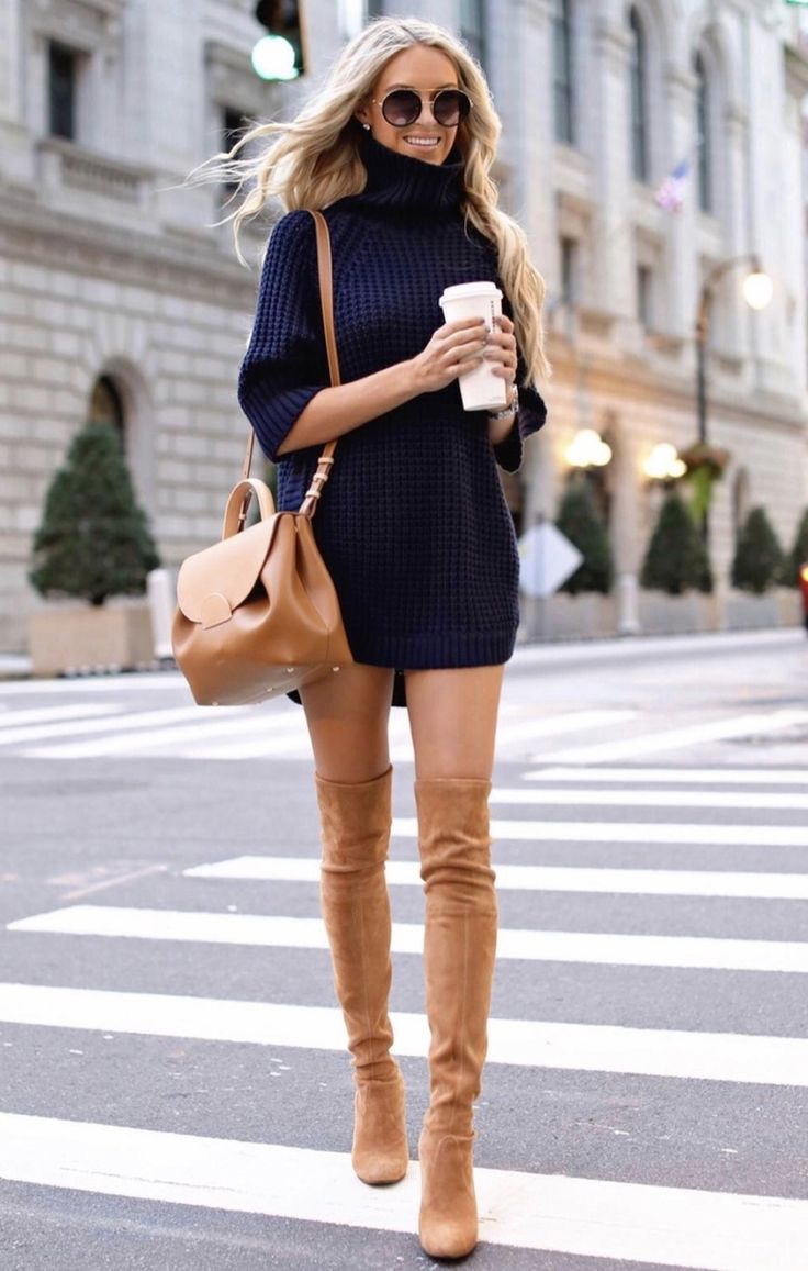 21+ Winter Outfits To Copy ASAP: Navy sweater dress with tan over the knee boots. These casual winter outfits will keep you warm when other cold weath…