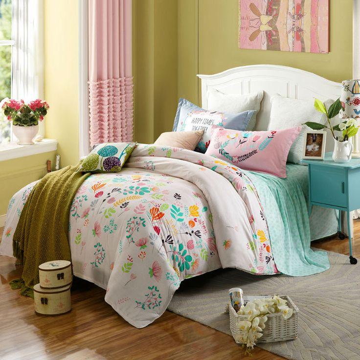 Цветочный стиль красочные цветы белое постельное белье постельное белье устанавливает хлопок Twin/Single/Double/Королева Размер 4 шт. одеяло пододеяльник набор листов наборы