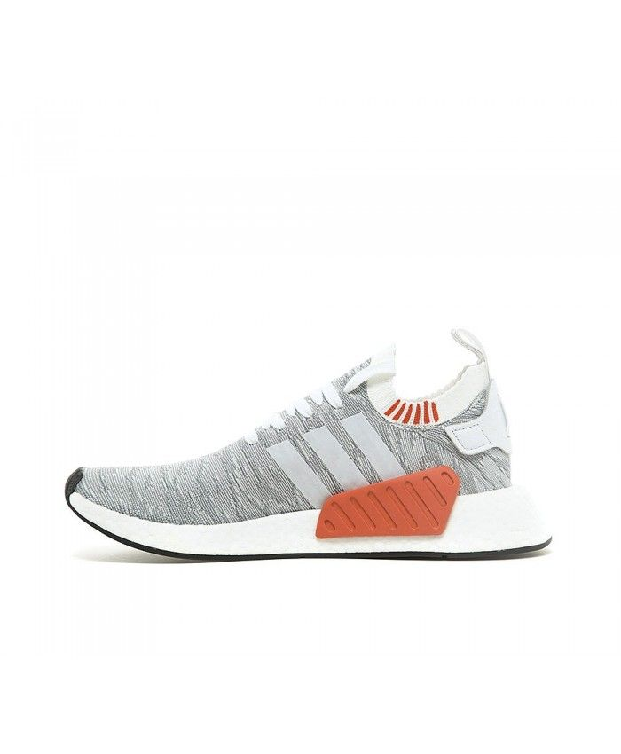 Adidas NMD R2 Primeknit Trainers In White Grey Red | Adidas