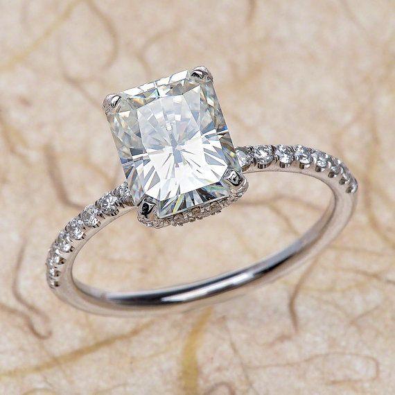 14k Radiant Cut Moissanite Engagement Ring Center 8X6 FB by Charles & Colvard Moissanite