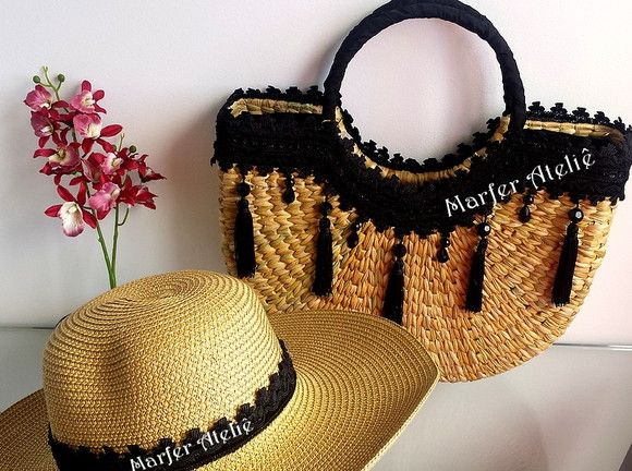 5bf818ff35 Compre Promoção Kit Chapéu e Bolsa de Praia Meia Lua LUXO férias no Elo7  por R  299