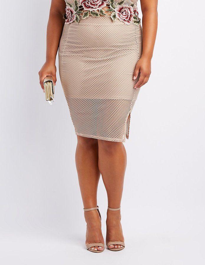 Charlotte Russe Plus Size Mesh Bodycon Midi Skirt