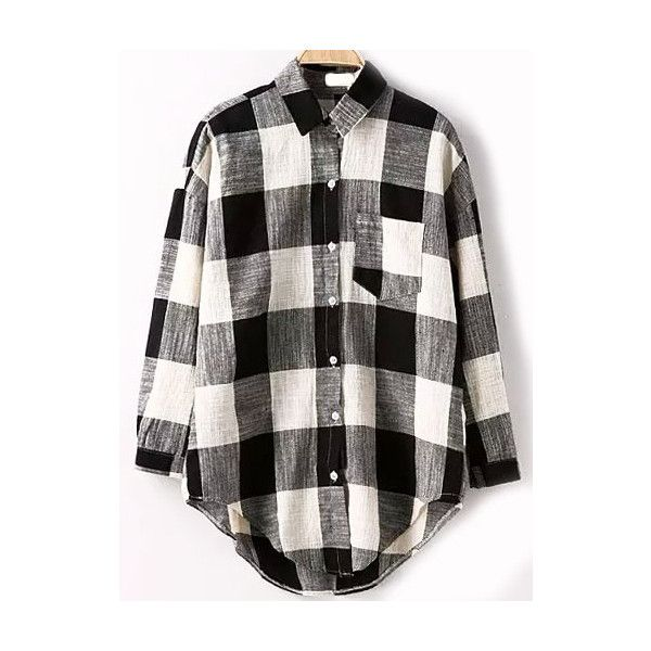 Lapel Dip Hem Plaid Pocket Blouse ($15) ❤ liked on Polyvore featuring tops, blouses, shirts, blusas, black and white, black and white plaid shirt, collared shirt, black and white shirt, long sleeve tops and cotton shirts