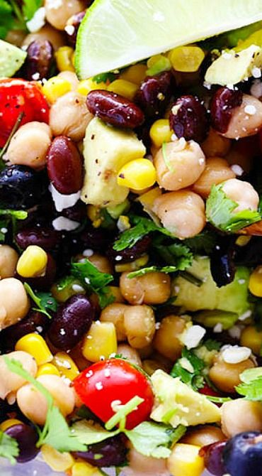 Southwest Chickpea Salad---add in chopped kale, garlic, and lemon. Yellow cherry tomatoes.