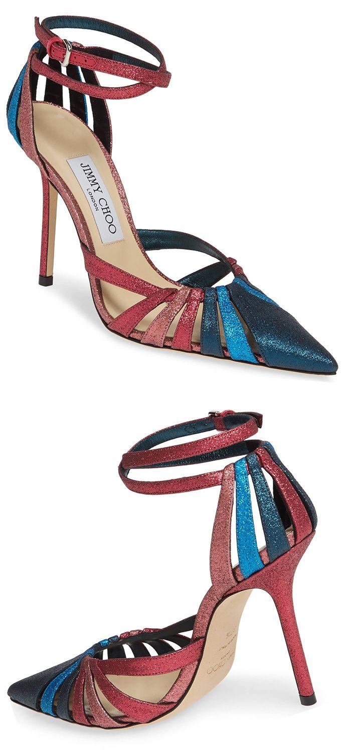 42f7177fd75 New Season Jimmy Choo Travis Glitter Shoes. Multi tonal Glitter Strappy  Shoes. Glittery straps