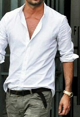 Casual.. love the open wrinkled shirt and rolled sleeves
