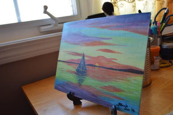 Sailboat and Sunset by MyriArt on Etsy, $25.00
